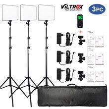 """VILROX 3/2pcs VL 200T Bi สีหรี่แสงได้รีโมทคอนโทรลไร้สาย LED แผงไฟวิดีโอชุด + 75 """"Light สำหรับสตูดิโอถ่ายภาพ"""