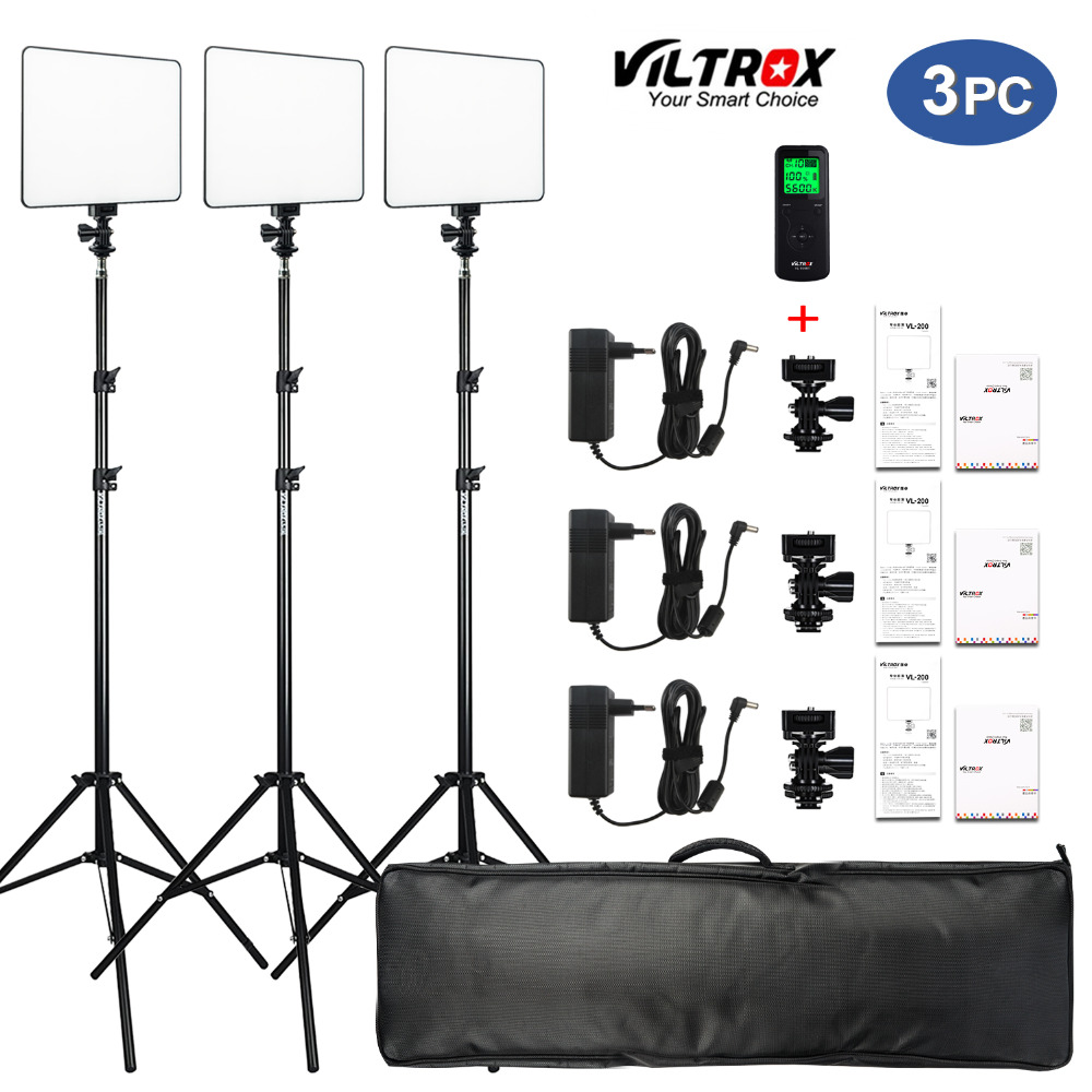 "VILROX 3/2pcs VL-200T Bi-color Dimmable Wireless Remote LED Video Light Panel Lighting Kit+75"" Light Stand For Studio Shooting"