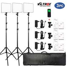 "VILROX 3/2pcs VL 200T Bi color Dimmable Wireless remote LED Video Light Panel Lighting Kit+75"" Light Stand for studio shooting"