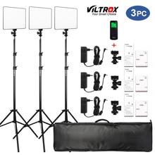 """Vilrox 3/2 Pcs VL 200T Bi Color Dimbare Draadloze Afstandsbediening Led Video Light Panel Verlichting Kit + 75 """"Light Stand Voor Studio Schieten"""