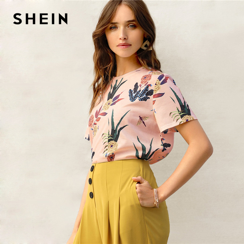 b35371398d Aliexpress.com : Buy SHEIN Botanical Print Tee Casual Women Clothing Round  Neck Short Sleeve T Shirt Stylish Basic Summer Pink Pastel Top Tees from  Reliable ...