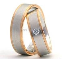 Цвета розового золота покрытие titanium обручальное Обручальные Кольца Комплекты украшений для него и для нее trauringe Анель Ору