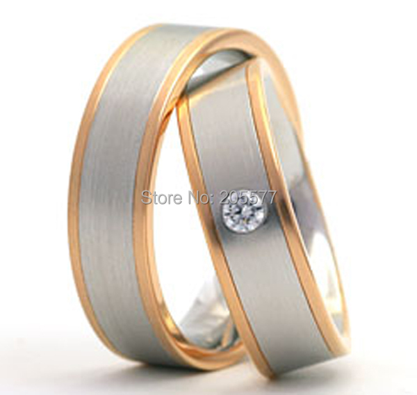 rose gold plating titanium wedding band engagement rings sets  jewelry for him and her trauringe anel ourorose gold plating titanium wedding band engagement rings sets  jewelry for him and her trauringe anel ouro
