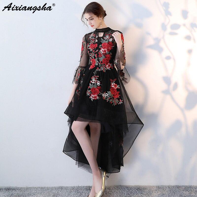 Black   Prom     Dresses   2018 High Low Three Quarter O-Neck Short   Prom     Dresses   Long Elegant Embroidery vestido de festa gala jurken