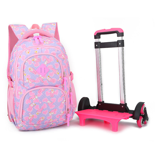 ZIRANYU Triple-wheel Trolley Backpack For Children Fashion Heart-shaped Pattern School Bag Detachable Backpack For Girls School Bags