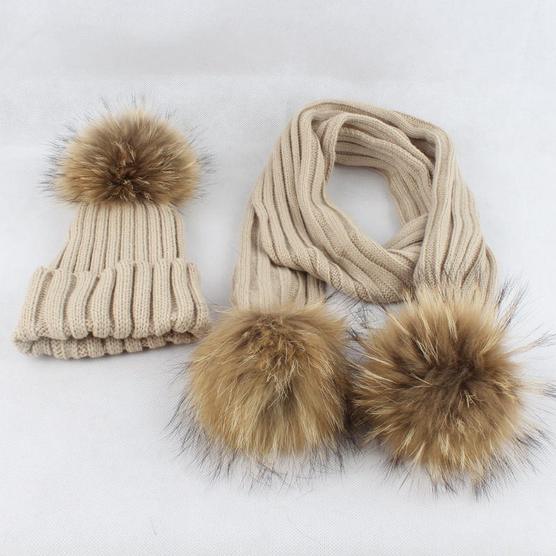 Children Winter Kids fur ball pom poms Beanies Christmas Hat Set with Scarf Neck Warmer Autumn Winter Baby Boys Girls Neck Scarf new star spring cotton baby hat for 6 months 2 years with fluffy raccoon fox fur pom poms touca kids caps for boys and girls