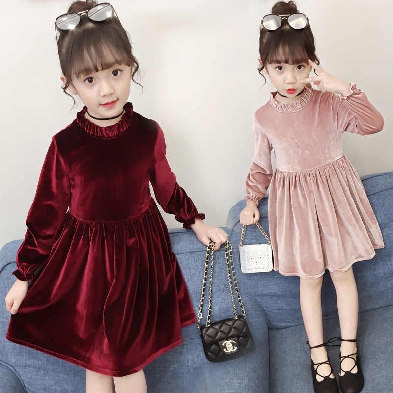 eabfca8f7 Vestido para niñas de invierno de manga larga vestidos para niñas de ...