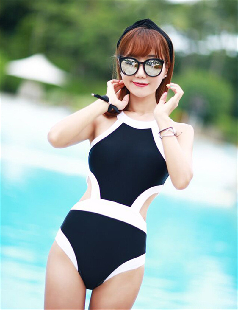 2016 New Women Swimwear One Piece Swimsuit Sexy Halter Neck High Waist Monokinis Cut Out Black White Bathing Suit Beach Wear one piece swimsuits trikinis high cut thong swimsuit sexy strappy monokini swim suits high quality denim women s sports swimwear