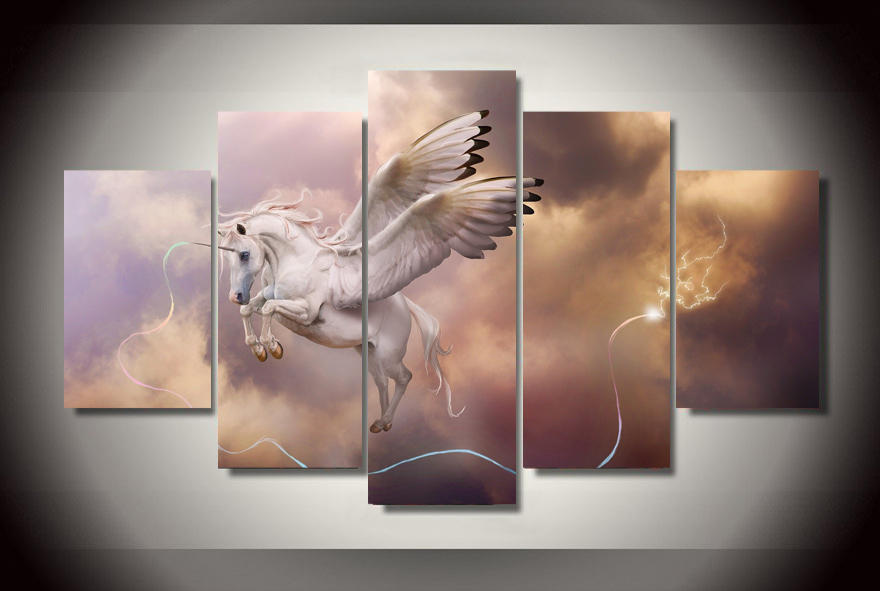 Fantasy art unicorn Pegasus Wall Art Picture Modern Home Decoration ...