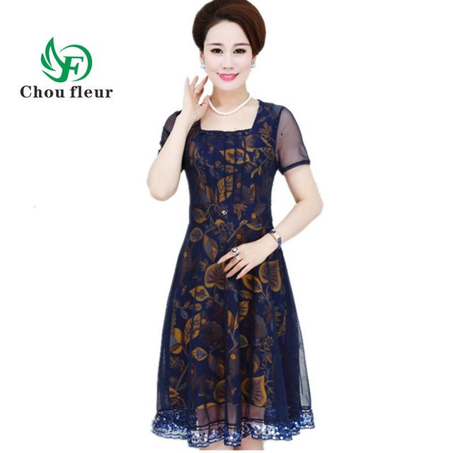 c8ba314027e Women Summer Dress Long Middle-aged 40-50 Years Old Mother Dresses Large  Size Ganze Patchwork XL-5XL