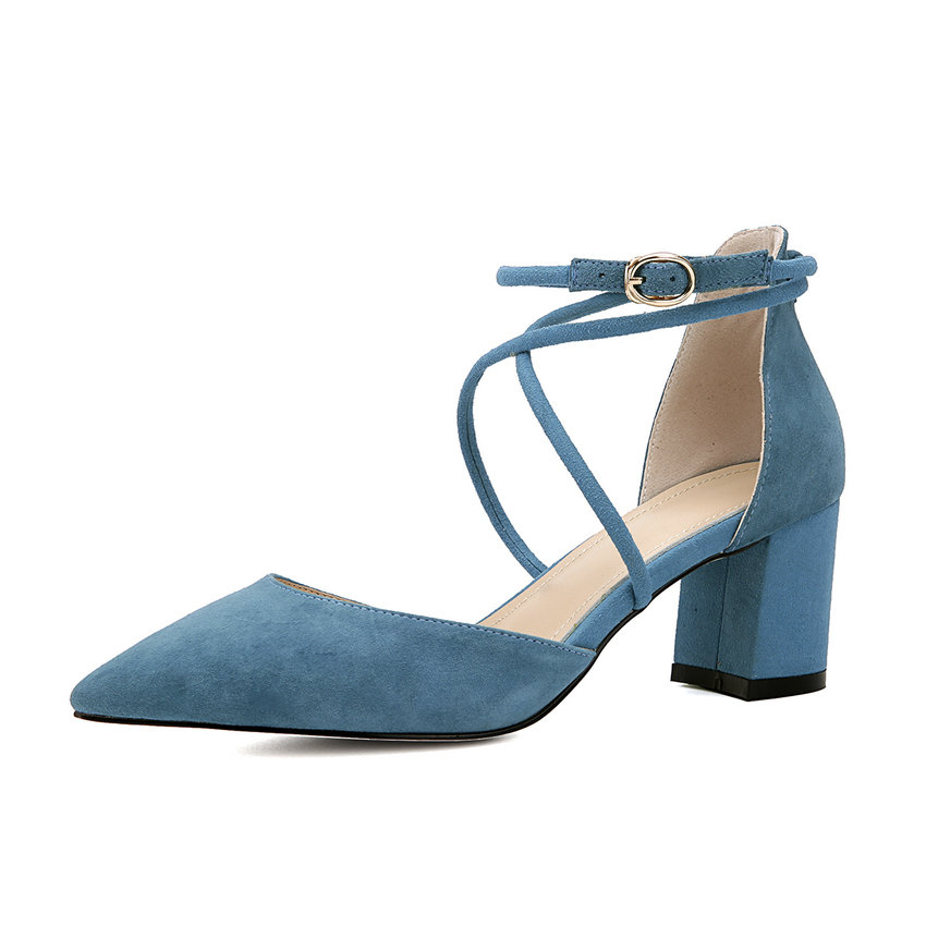2017 Fashion Women Pumps High Heel Pointed Toe Buckle Strap Shoes Square High Heels Cross-tied Ladies Elegant Shoes Size 34-40 memunia flock pointed toe ladies summer high heels shoes fashion buckle color mixing women pumps elegant lady prom shoes