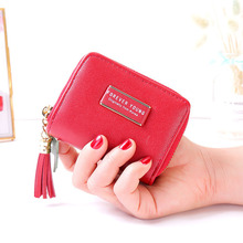 Купить с кэшбэком Simple zipper Women Wallets short tassel clutch bag dollar purse euro wallet business card holder girl coin purse document bag