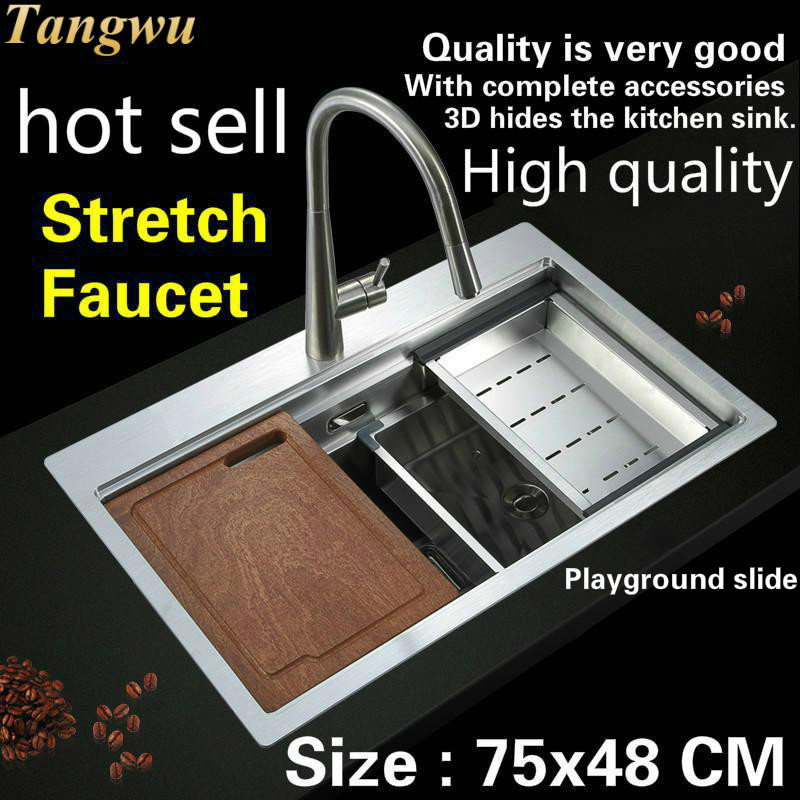 Free Shipping Hot Sell Standard Stretch Faucet Luxury Household Kitchen Manual Sink Single Trough The Slide Durable 750x480 MM