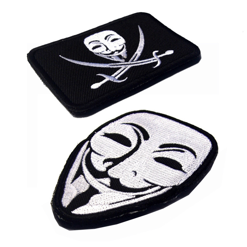 Rubber V for Vendetta Brand Brassard 3D PVC Tactical Patch Hook Cloth Emblem Morale Armband Army Embroidery Combat Badge in Patches from Home Garden