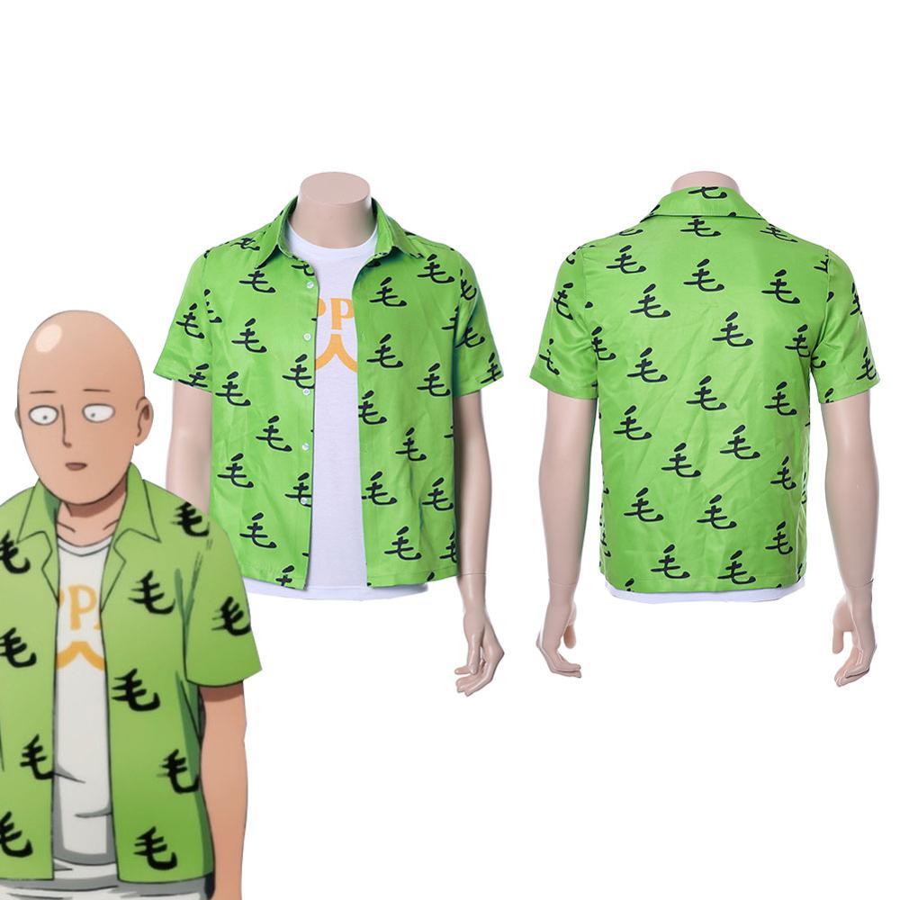 One Punch Man T Shirt Saitama Oppai Shirt Tee Green Summer Cotton Short Sleeve T-shirt+Underwear