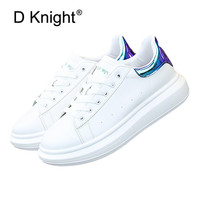 New 2019 Autumn Fashion Women Casual Shoes Pu Leather Laser Platform Shoes Women Sneakers Ladies White Trainers Chaussure Femme