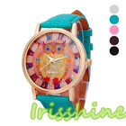 <+>  Irisshine i0010 женские часы Lady Girl Owl Pattern Кожаный ремешок Аналоговые кварцевые часы Vogue п ✔