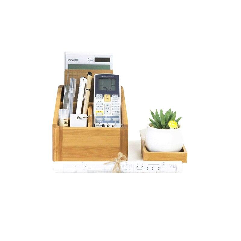 Bureau bambou papeterie cosmétique boîte de rangement porte-stylo bijoux maquillage télécommande boîtes de rangement pour la décoration intérieure