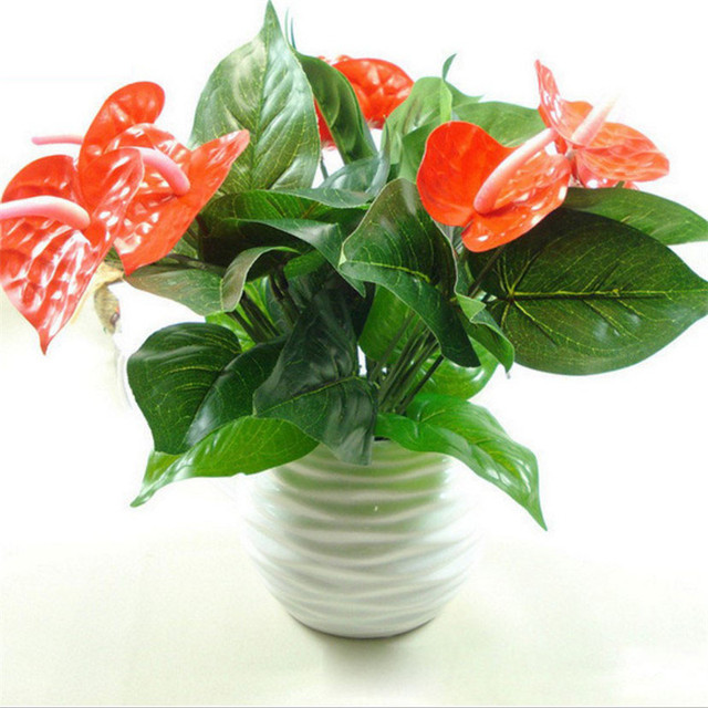 Artificielle Plante Verte En Pot Simulation Anthurium Fleur