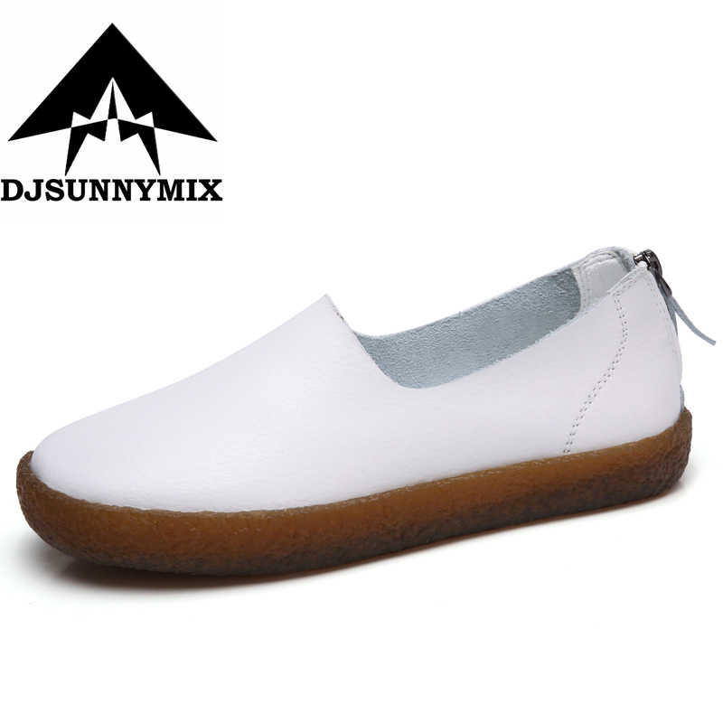 DJSUNNYMIX Brand Soft Women Shoes Flats Moccasins Slip on Loafers Genuine Leather Shoes Fashion Casual Ladies Shoes Footwear new fashion luxury women flats buckle shallow slip on soft cow genuine leather comfortable ladies brand casual shoes size 35 41