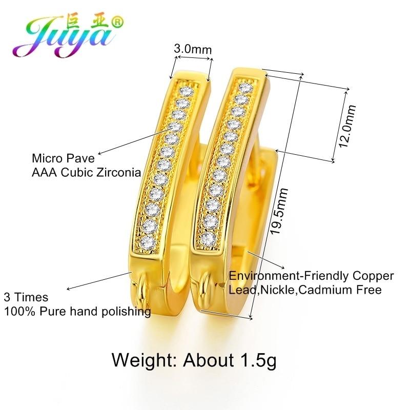 Juya DIY ювелирные изделия ручной работы Креативные Leverback Серьги Крючки Аксессуары для женщин обруч Висячие серьги изготовление - Цвет: Gold