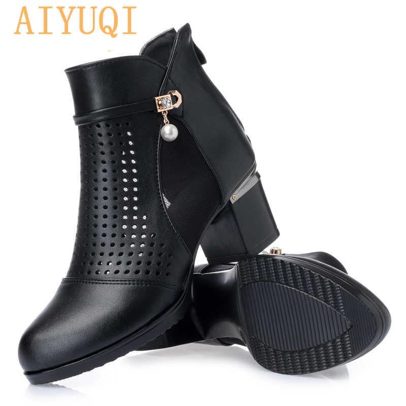 AIYUQI kadın hakiki deri sandalet botlar, seksi yumuşak nefes ayak bileği motosiklet botları, moda siyah kadın ayakkabı oymak