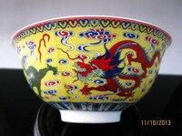Китайский Famille Роуз фарфоровая миска ручной росписью дракон Цяньлун знак украшение дома чаша
