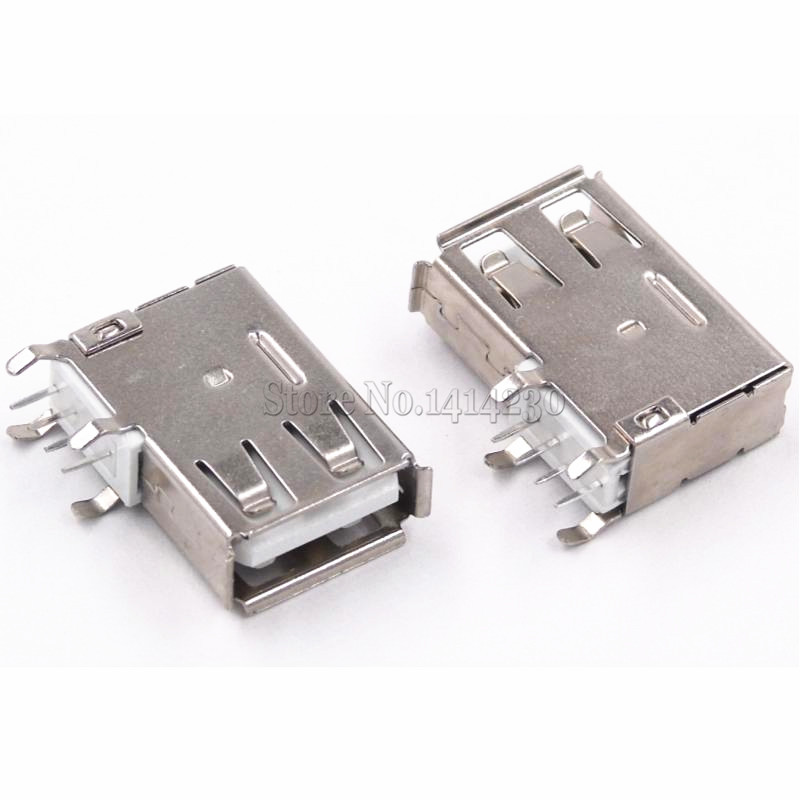 10Pcs USB Type A Female Solder Jacks Connector Side Needle 4P 90 Degree USB Data Interface 10pcs g45 usb b type female socket connector for printer data interface high quality sell at a loss usa belarus ukraine
