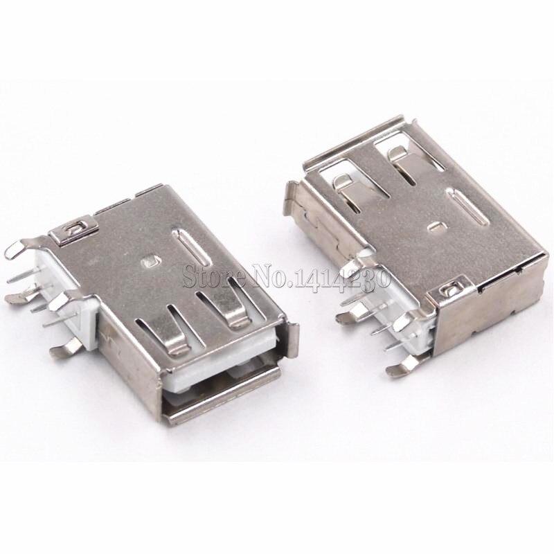 10Pcs USB Type A Female Solder Jacks Connector Side Needle 4P 90 Degree USB Data Interface