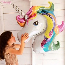 Taoup 1pc Handhold Cartoon Unicorn Balloons Foil Animals Accessories Cute Happy Birthday Party Favors Unicornio