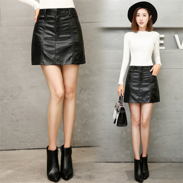 ad31f34502f1e US $18.87 51% OFF|2018 Spring New Women's Leather Skirt Casual Empire Solid  Pleated Package A line Skirt High Quality Pu Leather Skirt Black S 3XL-in  ...
