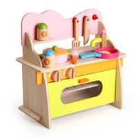 Деревянная кухонная плита детский игровой дом честно кухня газовая плита для приготовления Игрушечные лошадки образования Игрушечные лош