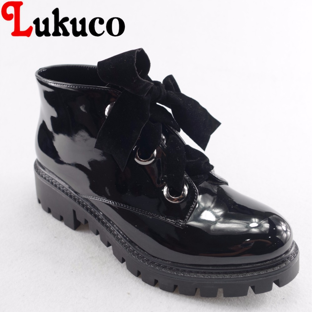 Lukuco pure color women ankle boots microfiber made zip design low hoof heel patent leather shoes with short plush inside lukuco pure color women mid calf boots microfiber made buckle design low hoof heel zip shoes with short plush inside