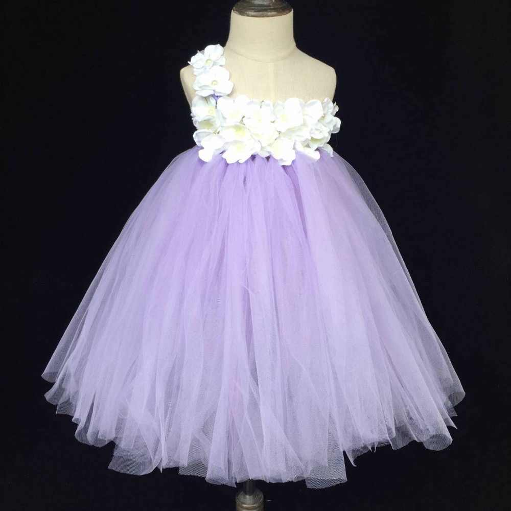 3f57af84a Cute Girls Lavender Tutu Dress Baby Fluffy Tulle Dress Long Ball Gown with  White Flower and