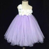 Lindo Girls Lavender Tutu Vestido Del Bebé Vestido de Tul Mullido Largo vestido de Bola con La Flor Blanca y Diadema Wedding Party Kids vestidos