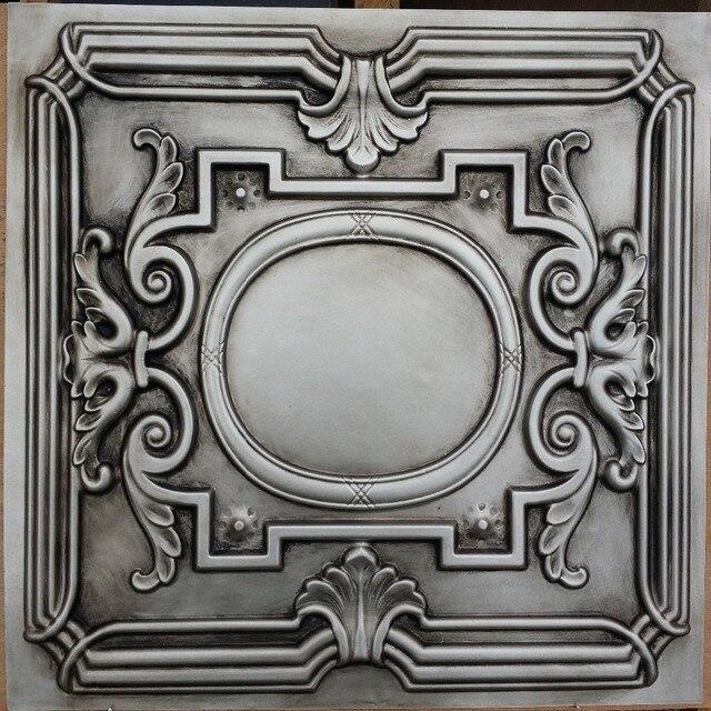 PL15 faux tin ceiling tile antiques silver color 3D restaurant cafe ...