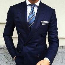 цена на Wide Peaked Lapel Navy Blue Prom Men Suits Groom Wedding Wear Best Man Blazer Slim Fit Terno Masculino Smoking Jacket 2Pieces