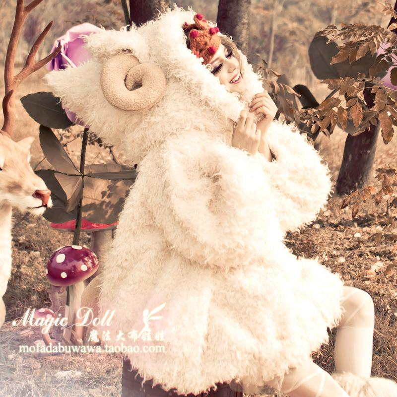 2017 Hot Sale Ukraine Cotton Clothing Magic Big Doll New Winter Warm Hooded Horn Lantern Sleeve Loose A-line Coat Was Padded 2017 ukraine exclusive custom winter coat magic cloth dolls and original sweet bunny ears hooded casual loose lovely cotton