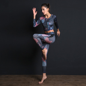 Image 3 - 女性スポーツスーツプリントフィットネスセット弾性スリムジム服通気性ヨガセット2 pcスポーツウェアtシャツスポーツレギンストラックスーツ