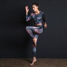 Женский спортивный костюм с принтом, комплект для фитнеса, тонкие леггинсы, дышащий комплект для йоги, 2 предмета, Спортивная одежда на молнии, футболка, спортивные штаны, спортивный костюм
