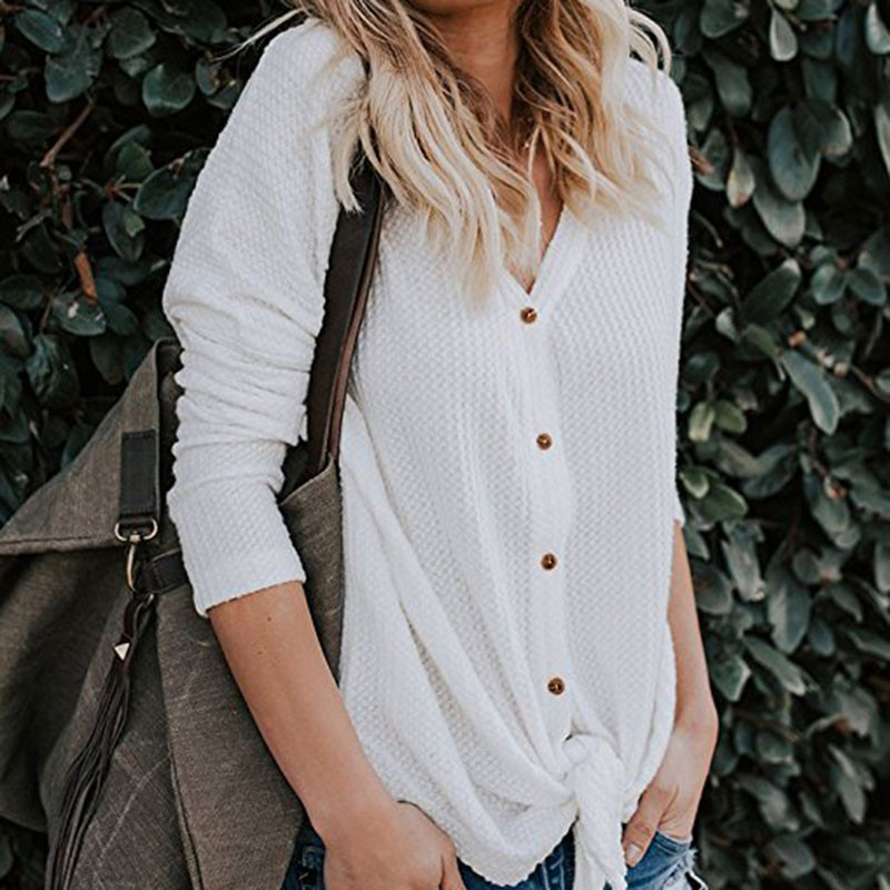 2019 Women Blouses Loose Long Sleeve Fitting Henley Shirts Button Tops V-Neck blusas mujer de moda shirt blouse White gray black