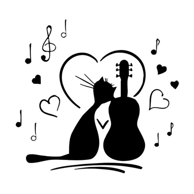 134 Cm 127 Cm Dibujos Animados Interesante Gato Música Amor