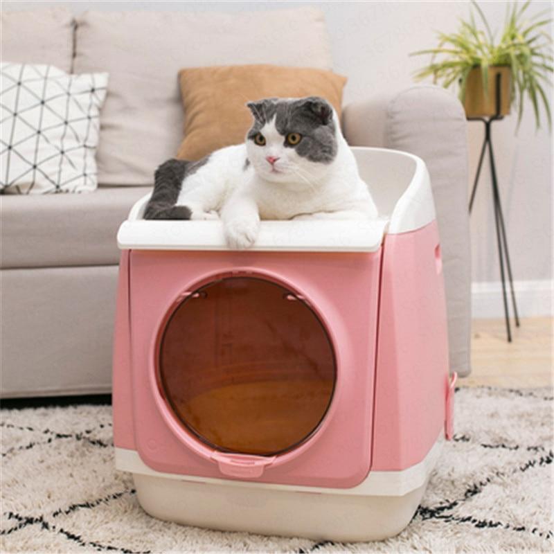 Extra Large Fully Enclosed Folding Cat Litter Box Pet Toilet Anti-splash Deodorant