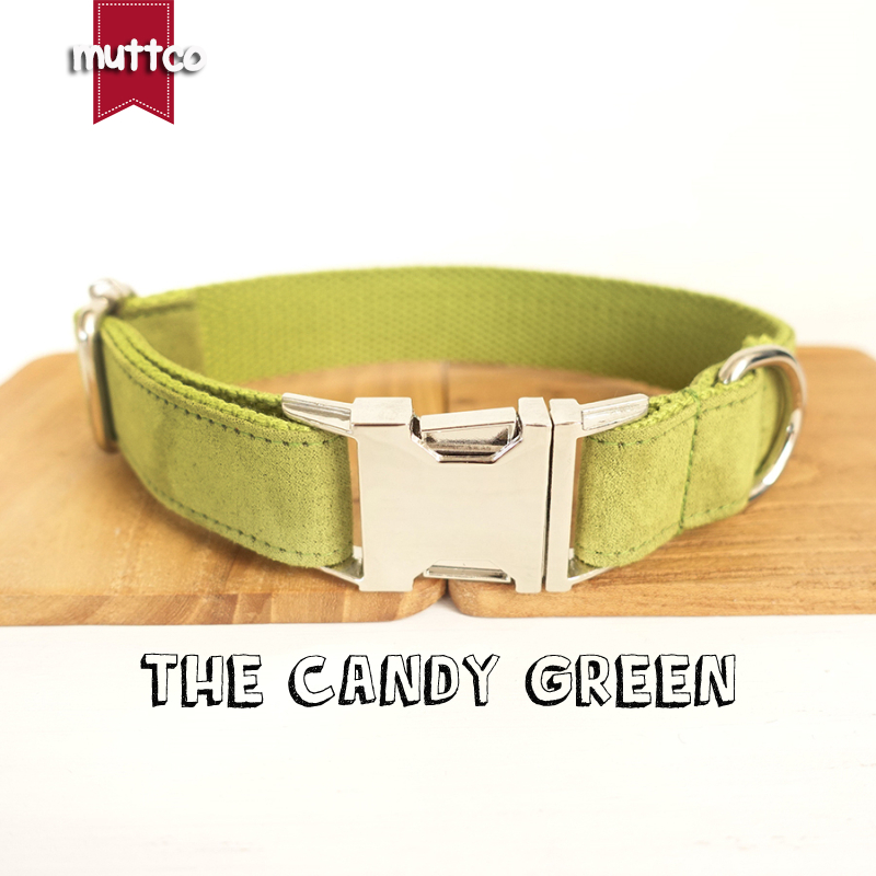 MUTTCO retailing self-design dog collar THE CANDY GREEN yellowish green poly satin and n ...
