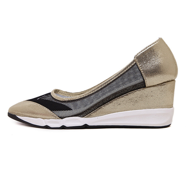 EGONERY sandals pointed toe pumps 2017 women fashion comfortable wedges shoes casual cut-outs slip-on ladies dress footwear 39