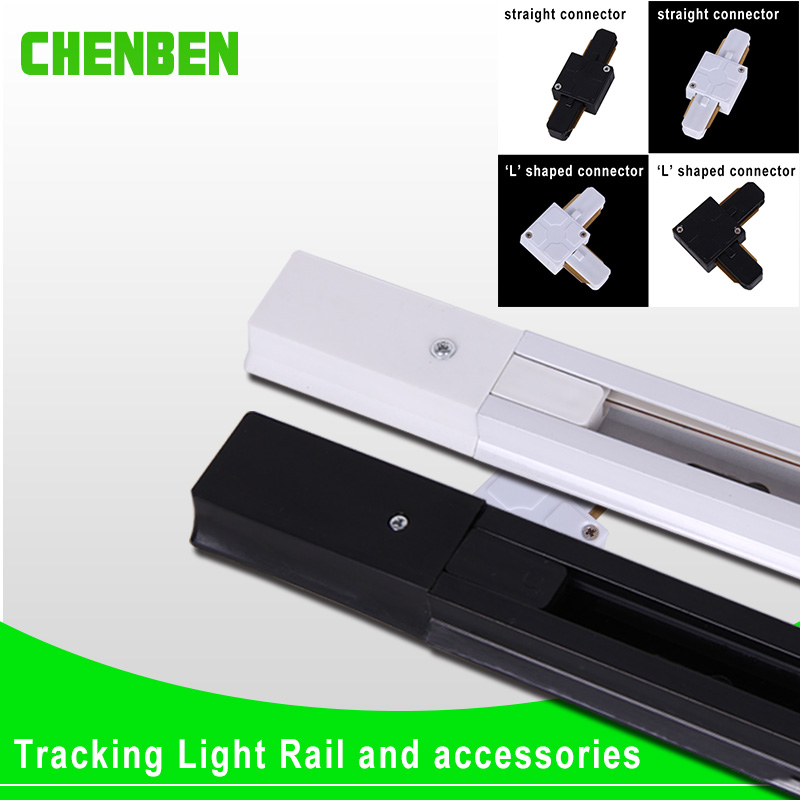 4 pieces 1m tracking bars LED Track Light Rail Connector Aluminum 2 wire straight L cross connector joiner for Track Lamp