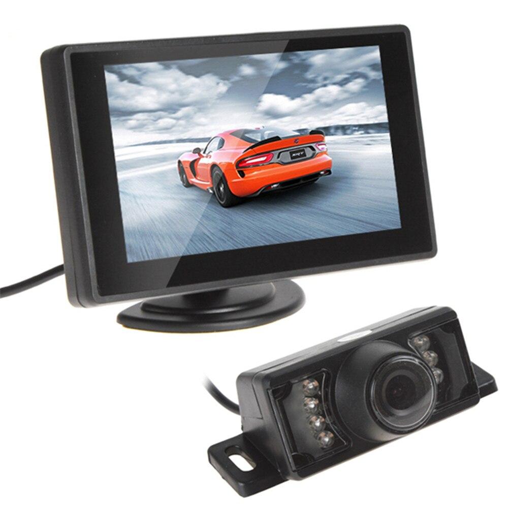 מצלמת וידאו אחורית ראיית לילה צג רכב עם 4.3 אינץ 'TFT LCD צג רכב חניה סיוע