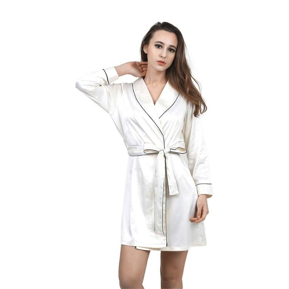 bb0ca5de3 عالية الجودة الحرير الشيفون رداء الصلبة الربيع الصيف مثير بُرنس حمام نسائي  النوم الرئيسية الملابس أردية الحمام المرأة روب للنوم