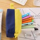 Patchwork Zipper Pencil Pouch Pen Pencil Case Bag Colored Pen Bag Organizer with Hanging Strap