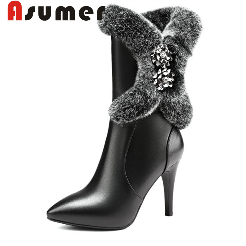 ASUMER 2018 fashion winter mid calf boots for women pointed toe solid genuine leather boots thin heels fur boots size34-39ASUMER 2018 fashion winter mid calf boots for women pointed toe solid genuine leather boots thin heels fur boots size34-39